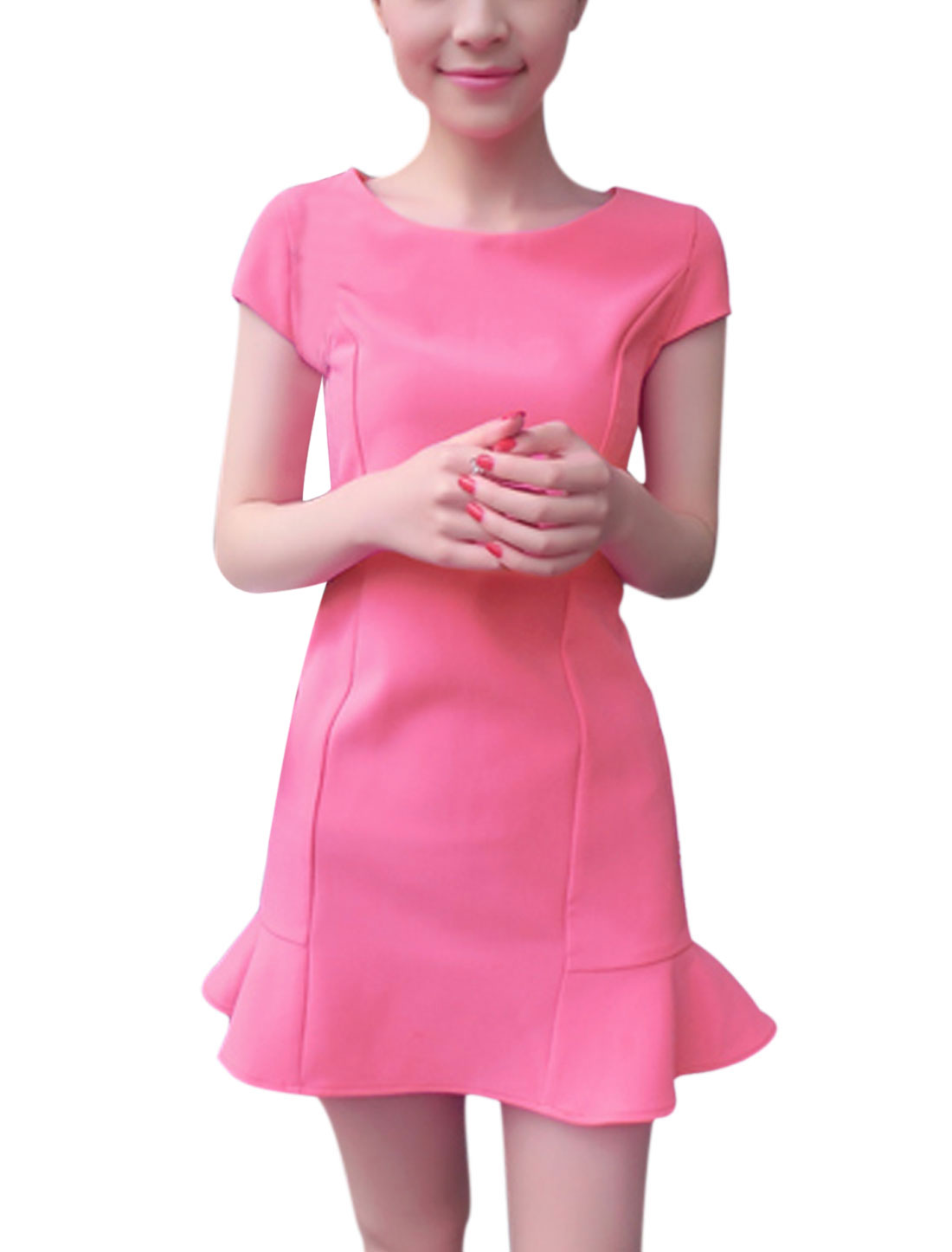 Ladies Fashion Korean Style Ruffle Hem Slim Pink Stretch Dress S