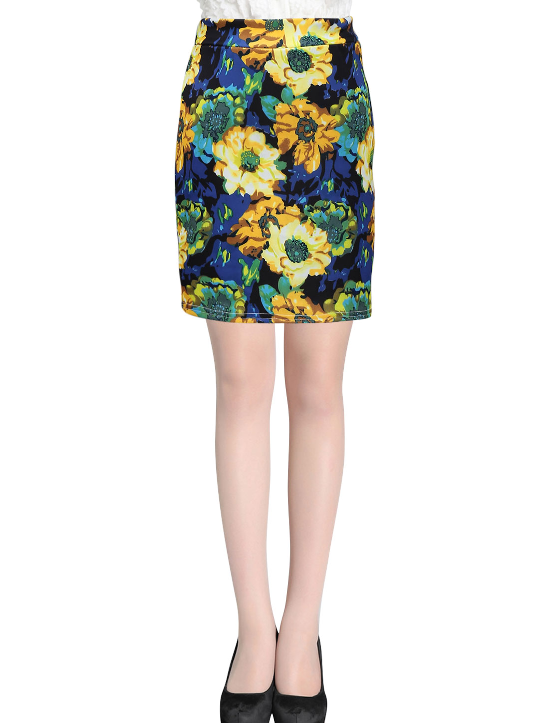 Women Stretchy Waist Floral Prints Above Knee Skirt Multicolor XS