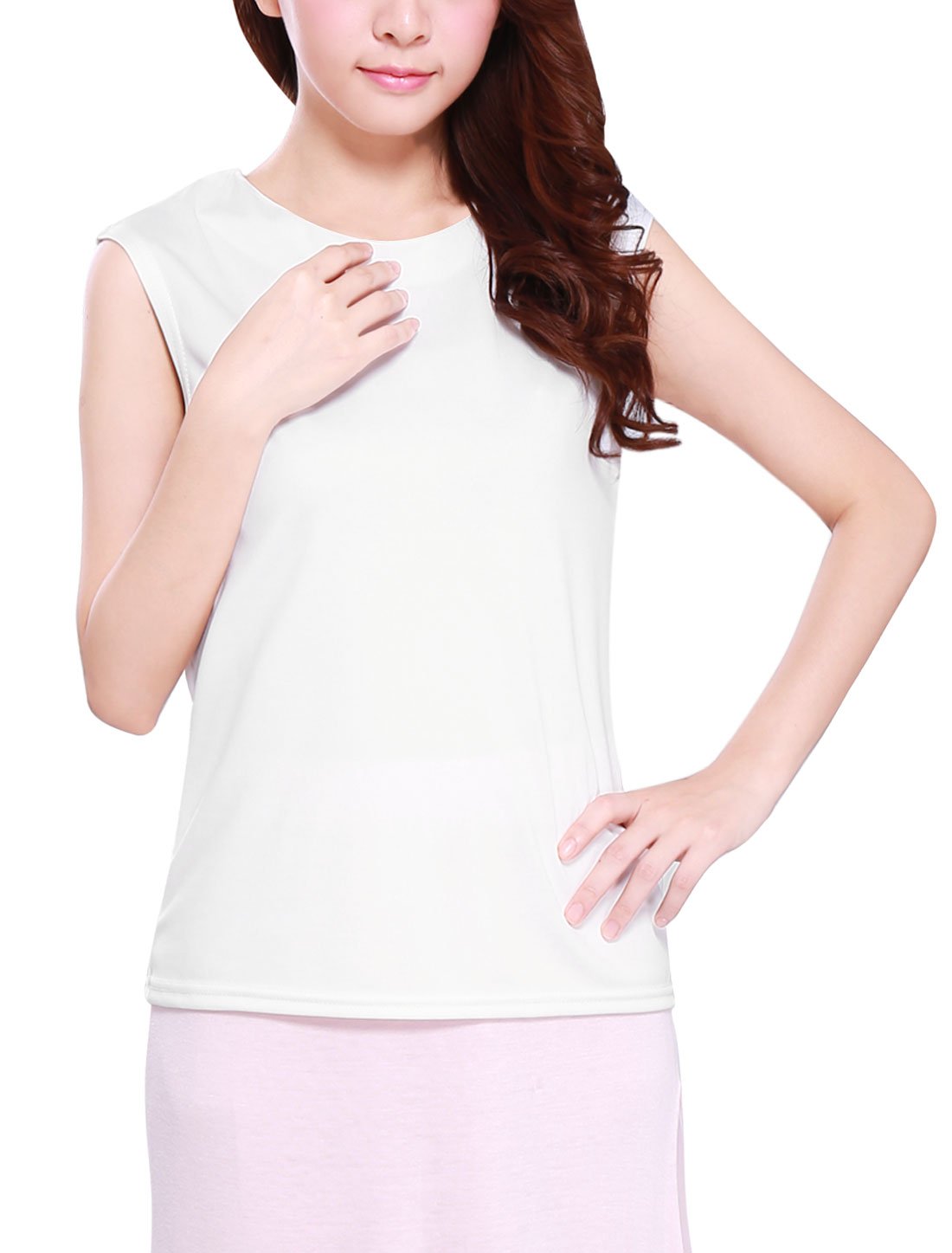 Ladies Round Neck Sleeveless Pullover Casual Top White XS