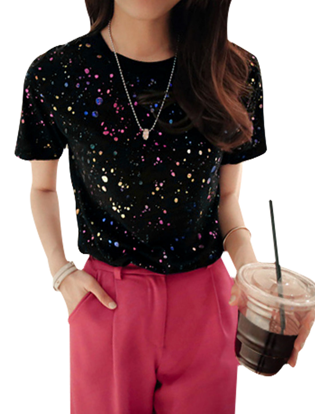 Ladies Short Sleeve Dots Embellished Pullover Fashion Top Black XS