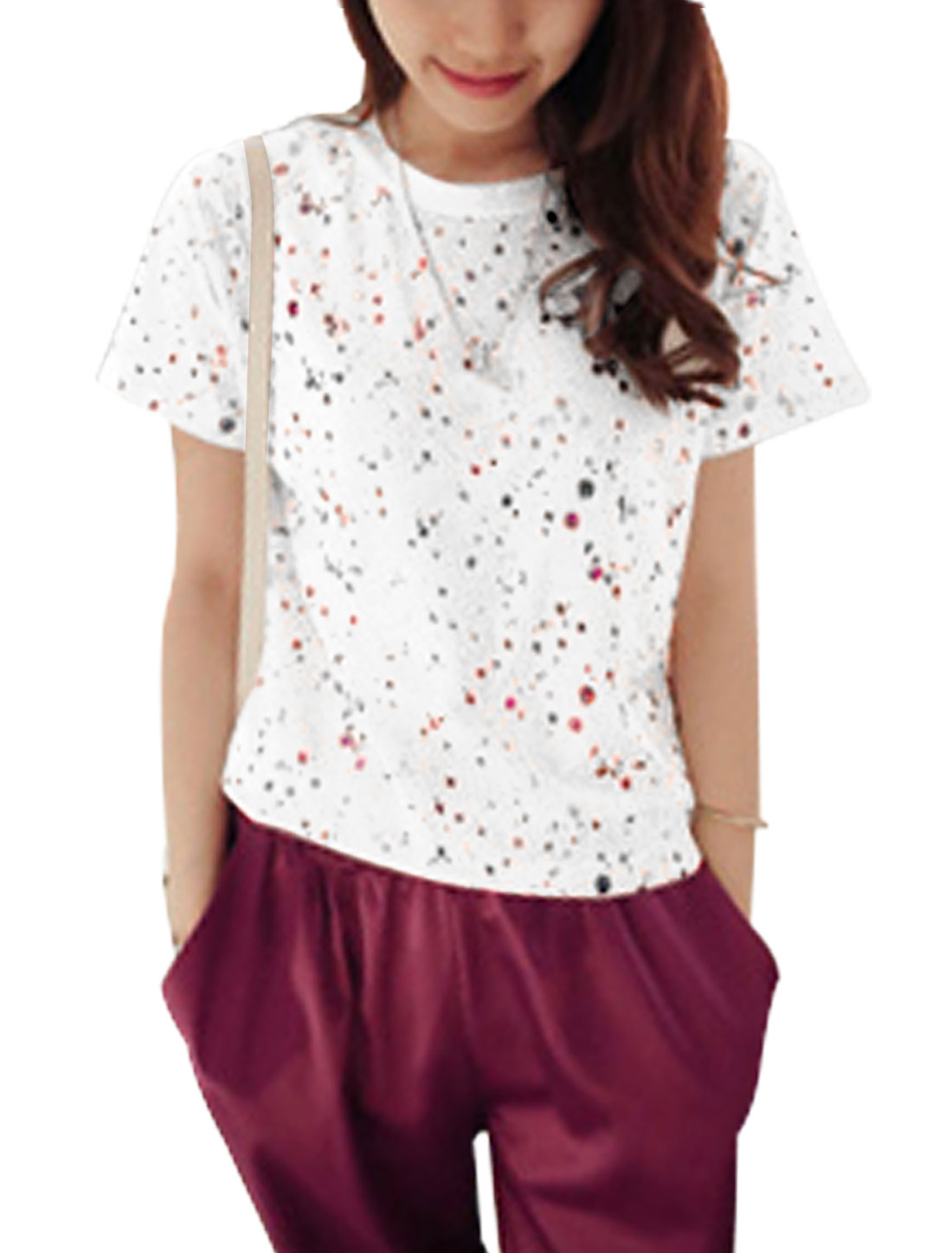 Ladies Glitter Detail Dots Embellished Pullover Fashion Top White XS