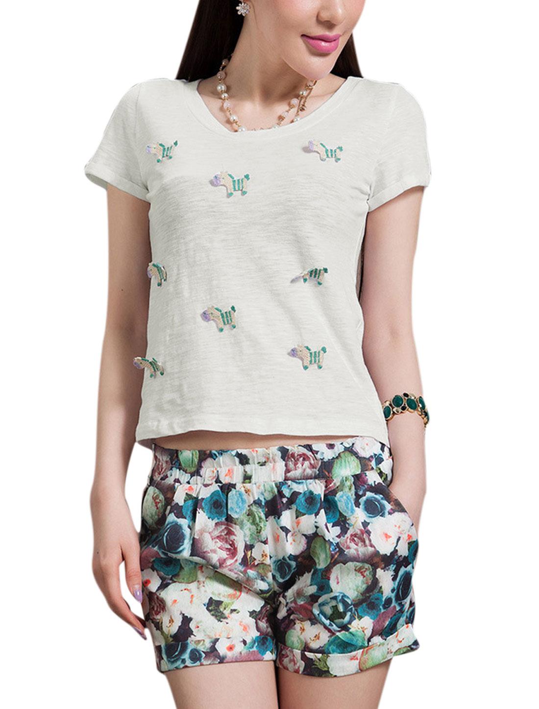 Women Floral Prints Multicolor Shorts w Horse Applique White Top XS