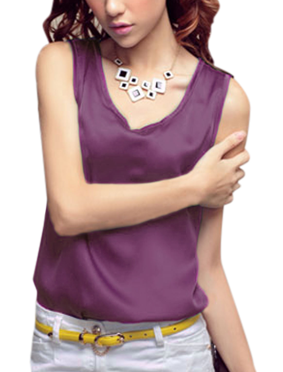 Lady V Neck Sleeveless Loose Stylish Tank Top Purple S