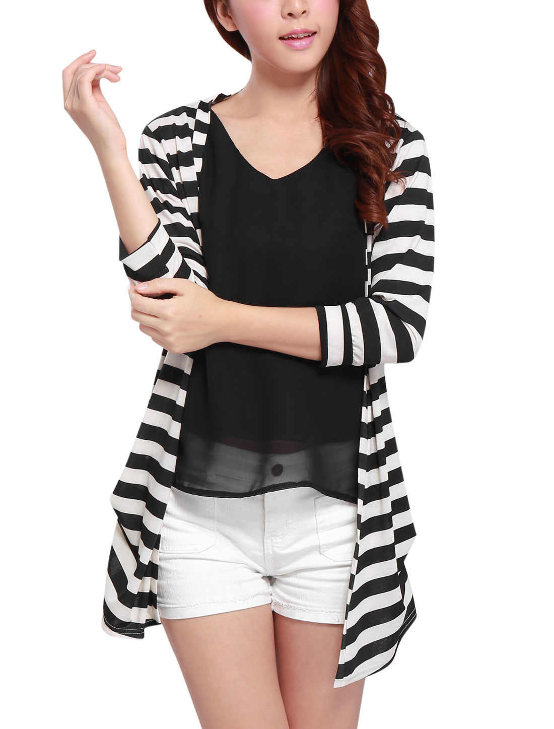 Ladies 3/4 Sleeve Stripes Pattern Casual Thin Long Cardigan Beige Black S