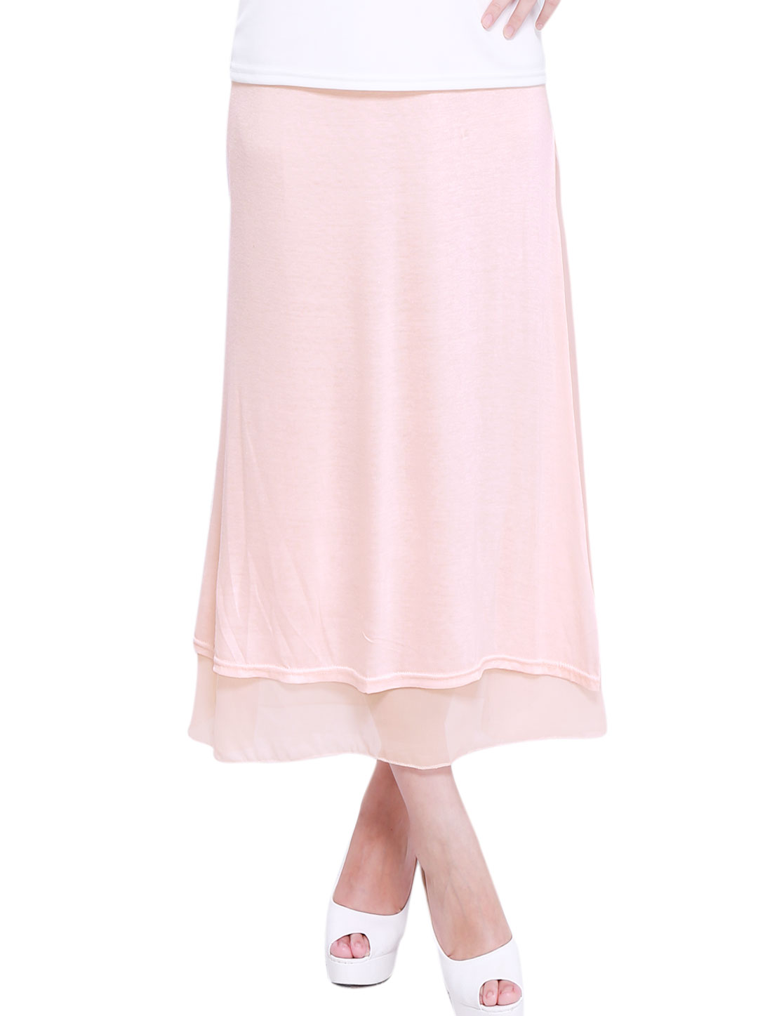 Women Stretchy Waist Side Split Chiffon Lining Soft Straight Skirt Light Pink XS