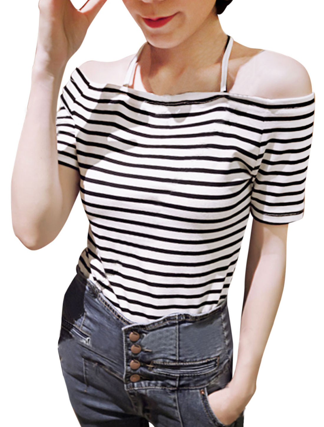 Ladies Spaghetti Straps Short Sleeve Stripes Slim Fit Top White Black XS