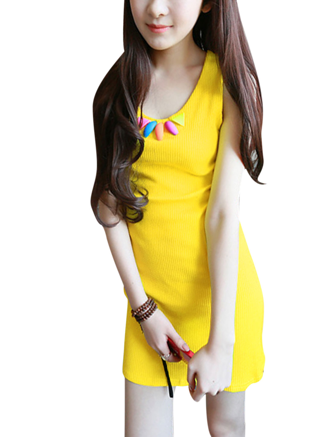 Lady's Korean Style U Neck Form-fitting Slim Yellow Sundress XS