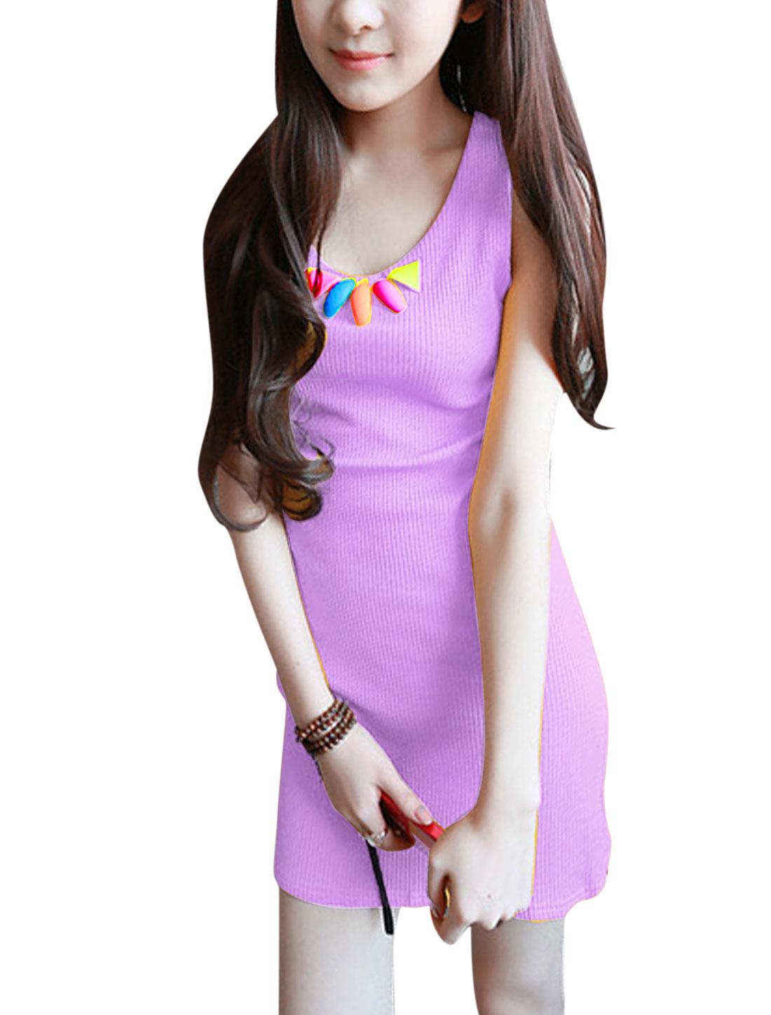 Women Fashion Style Summer Wear U Neck Stretch Purple Sundress XS