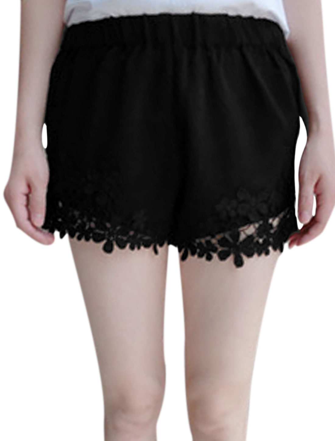Lady Elastic Waist Crochet Panel Summer Fit Shorts Black XS