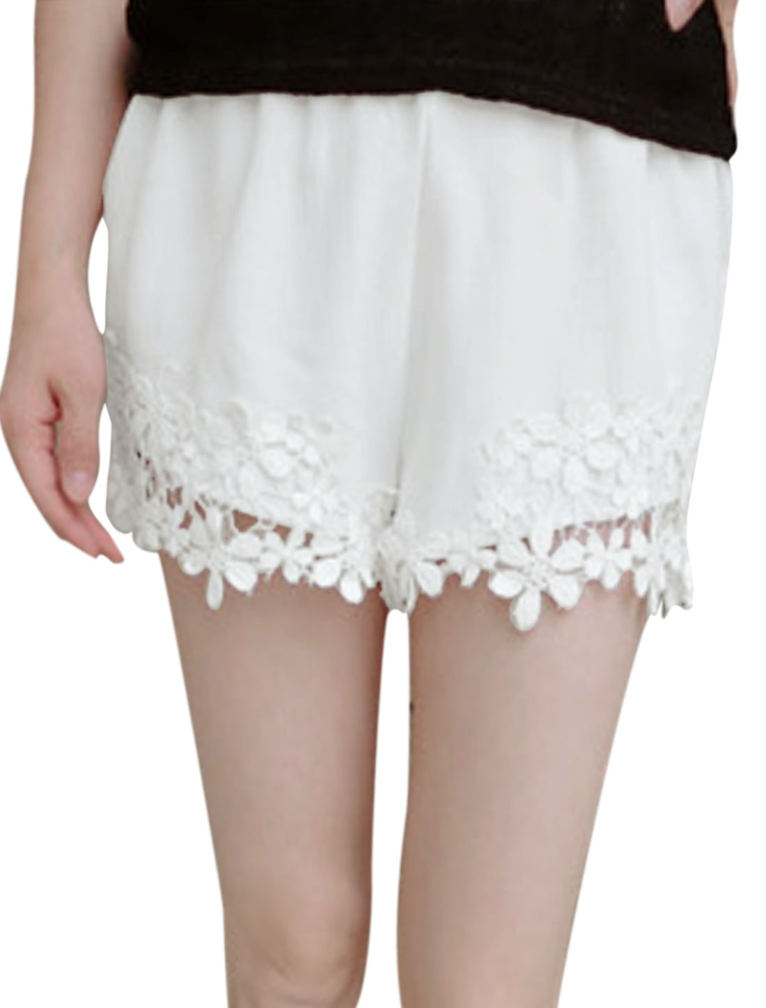 Ladies Crochet Panel Slim Fit Casual Shorts White XS