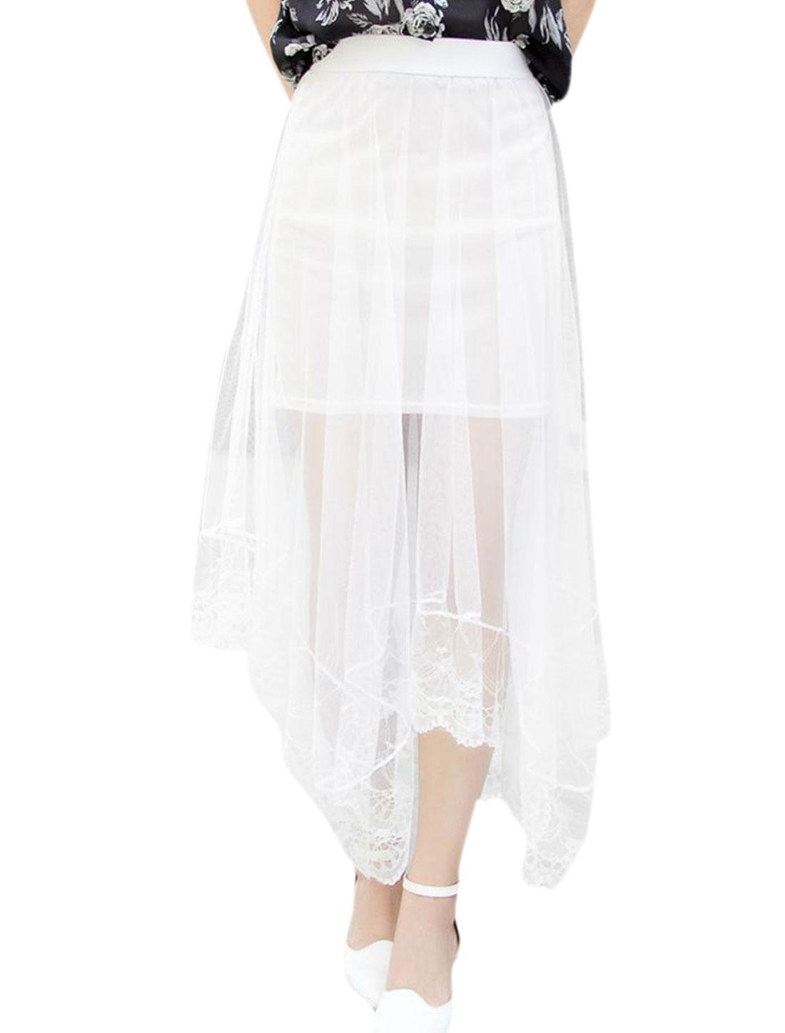 Lady Elastic Waist Semi Sheer Asymmetric Hem Lace Skirt White S