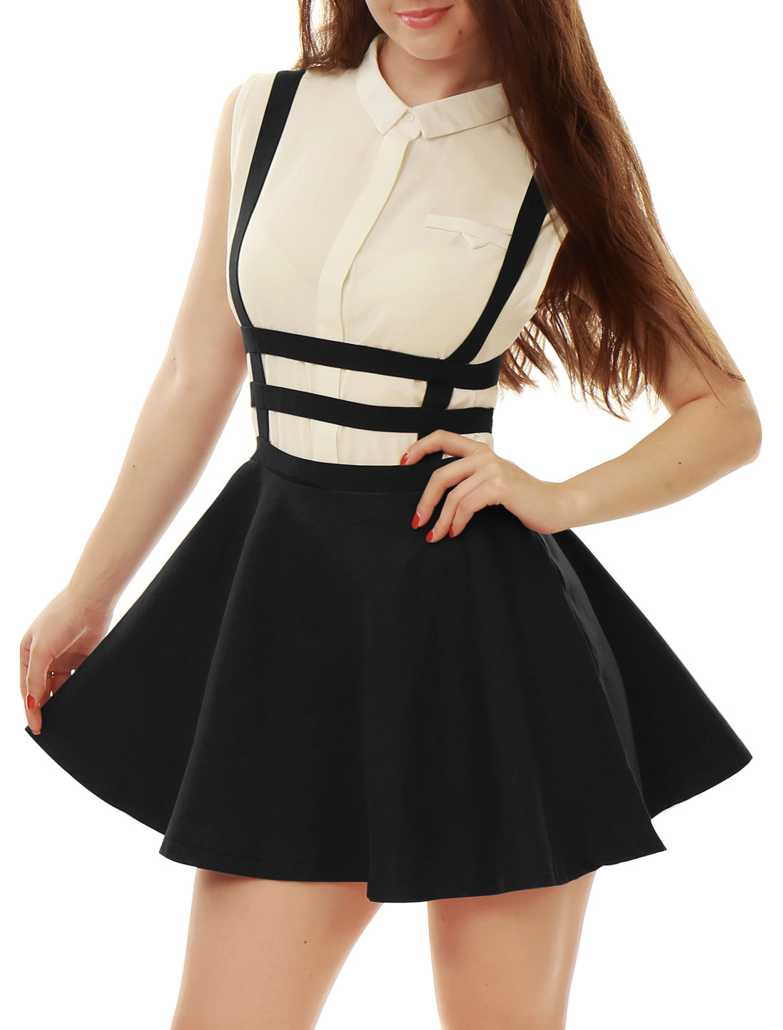 Lady Elastic Waist Zipper Back Stretch Straps Cut Out Detail Suspender Skirt Black S
