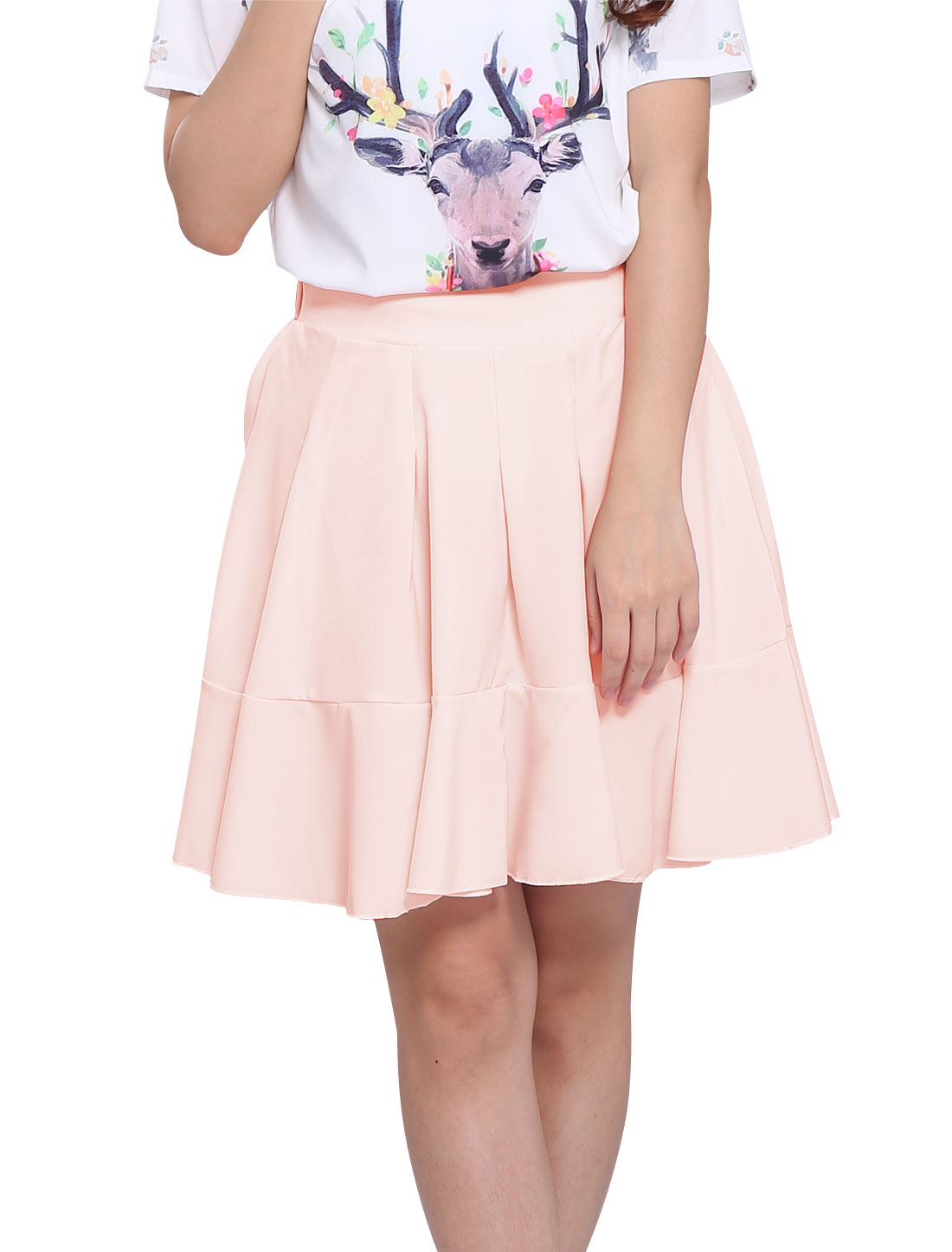Women's Double Layer Flared Panel Summer Fit Skirt Pink S