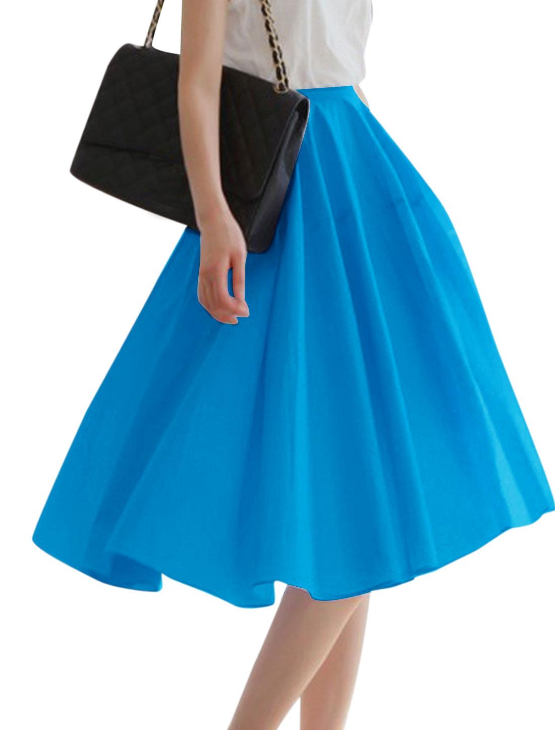 Women Stretchy Waist Lining Knee Length Casual Skirt Dark Blue M