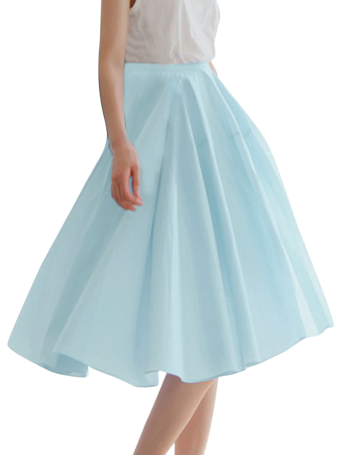 Women Stretchy Waist Lining Knee Length Stylish Skirt Sky Blue M