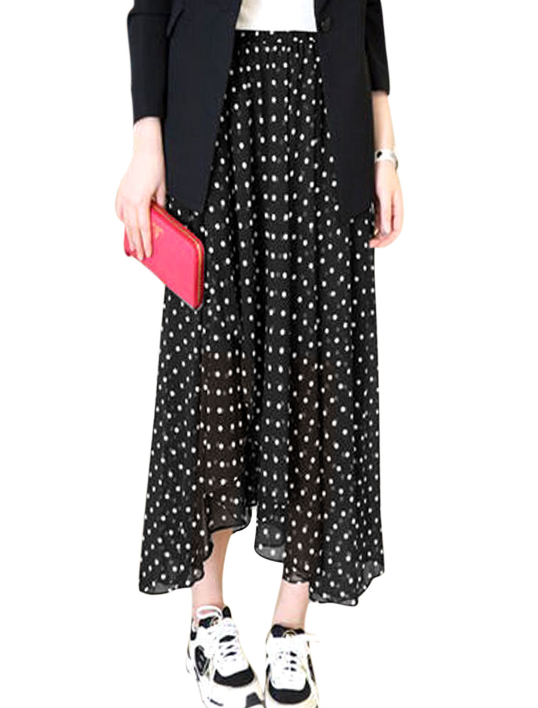 Lady Elastic Waist Dots Prints Irregular Hem Skirt Black S