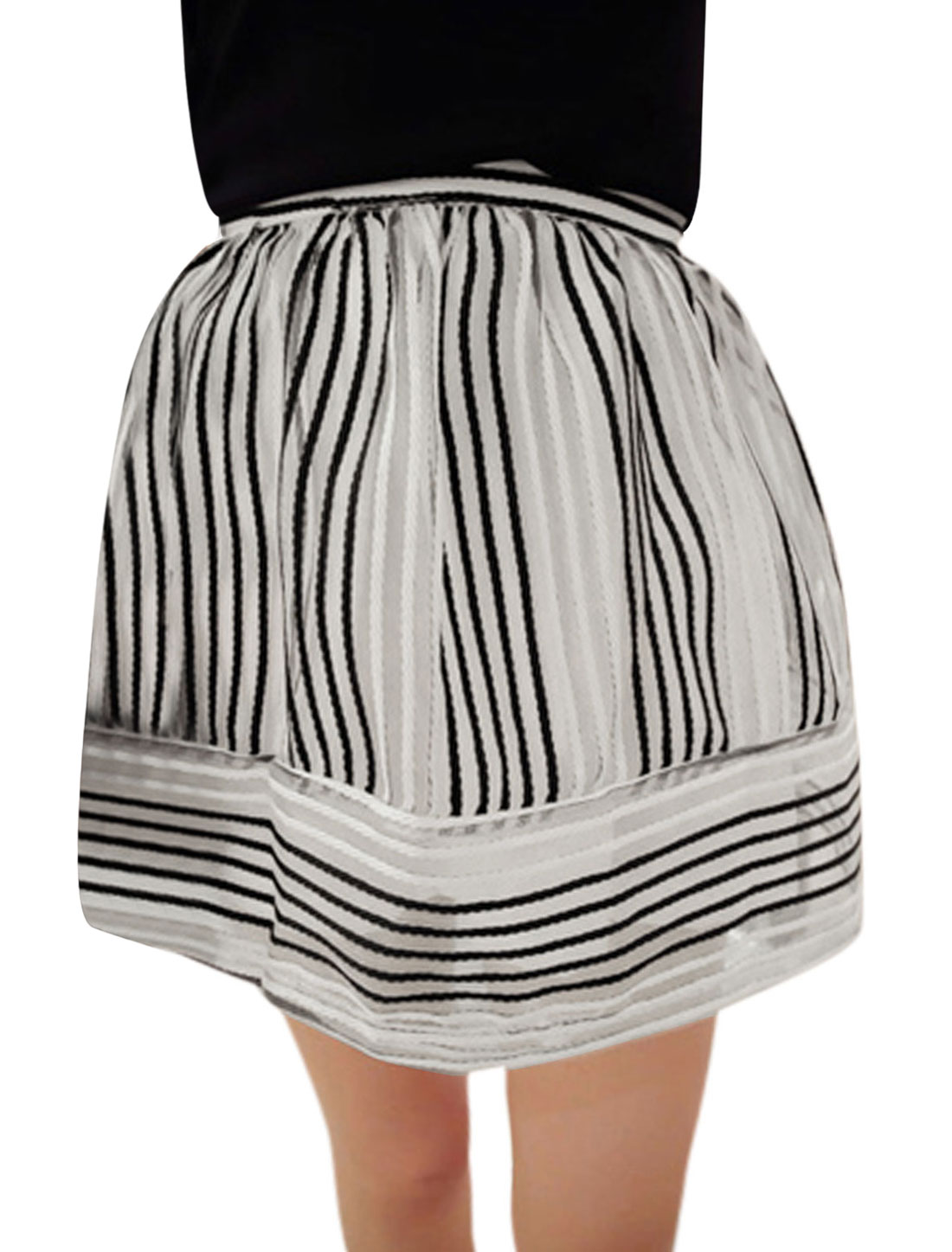 Lady Elastic Waist Stripes Fully Lined Organza Overlay Mini Skirt Black White XS