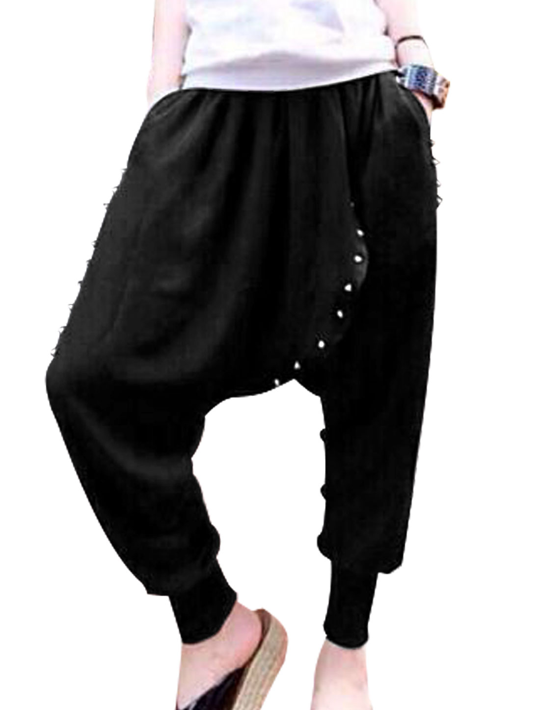 Lady Elastic Waist Rivet Decor Harem Cropped Pants Black XS