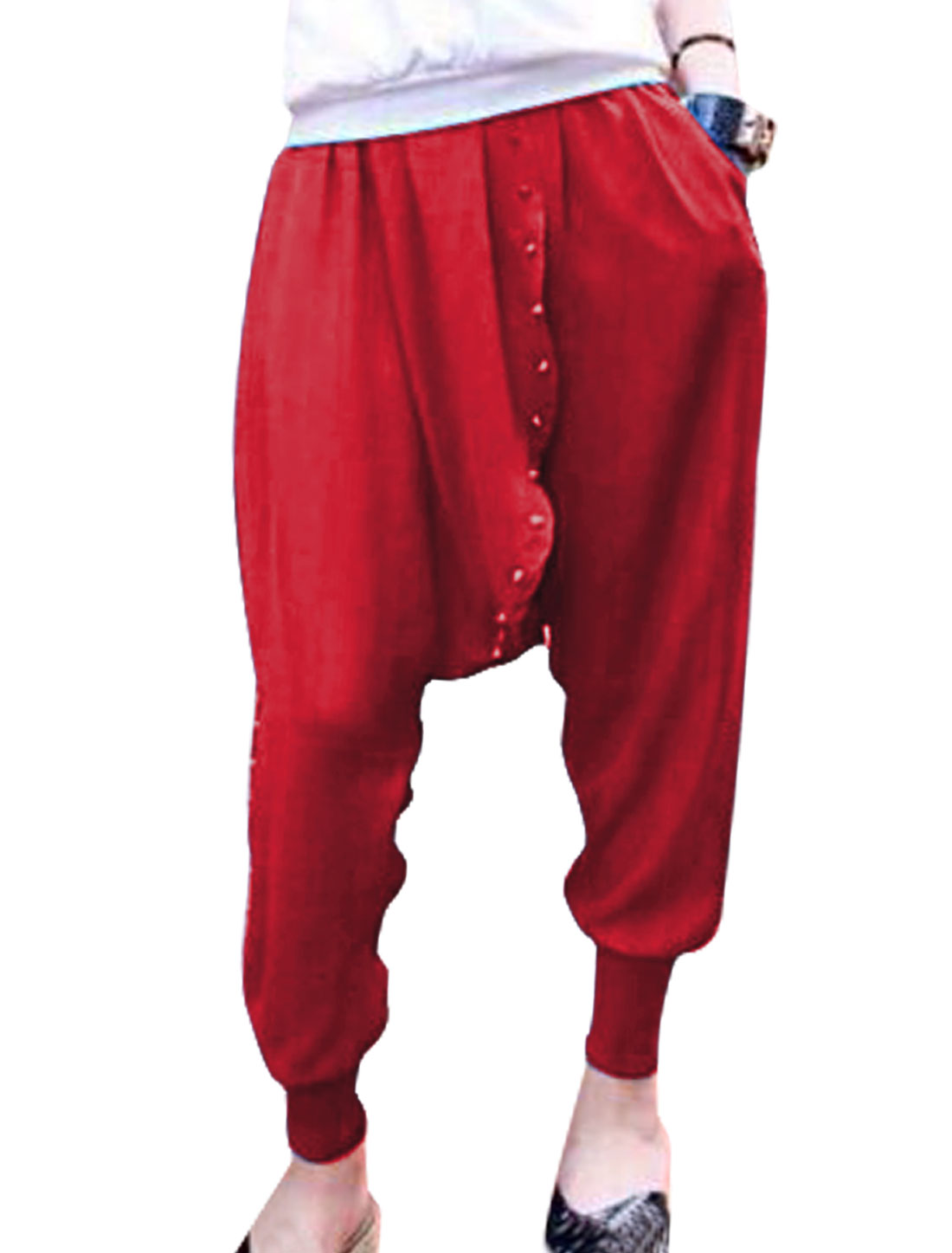 Lady Elastic Waist Rivet Decor Ribbed Cuffs Harem Cropped Pants Red XS
