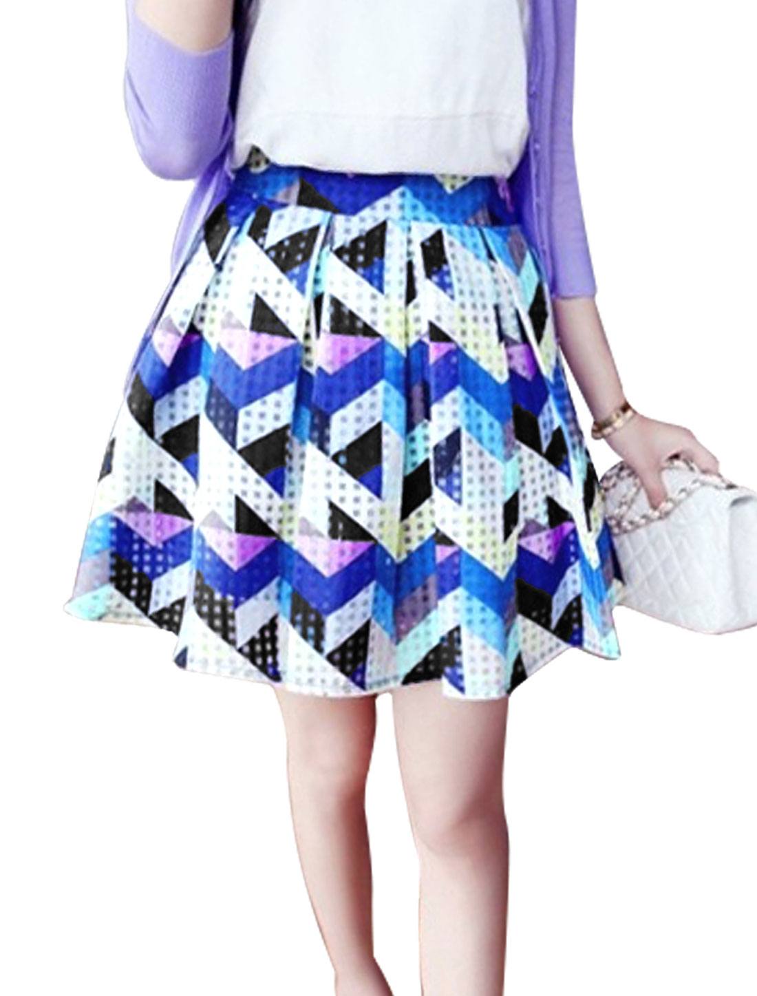 Lady's Summer Wear Zig-Zag Pattern Round Hem Multicolor Pleated Skirt M