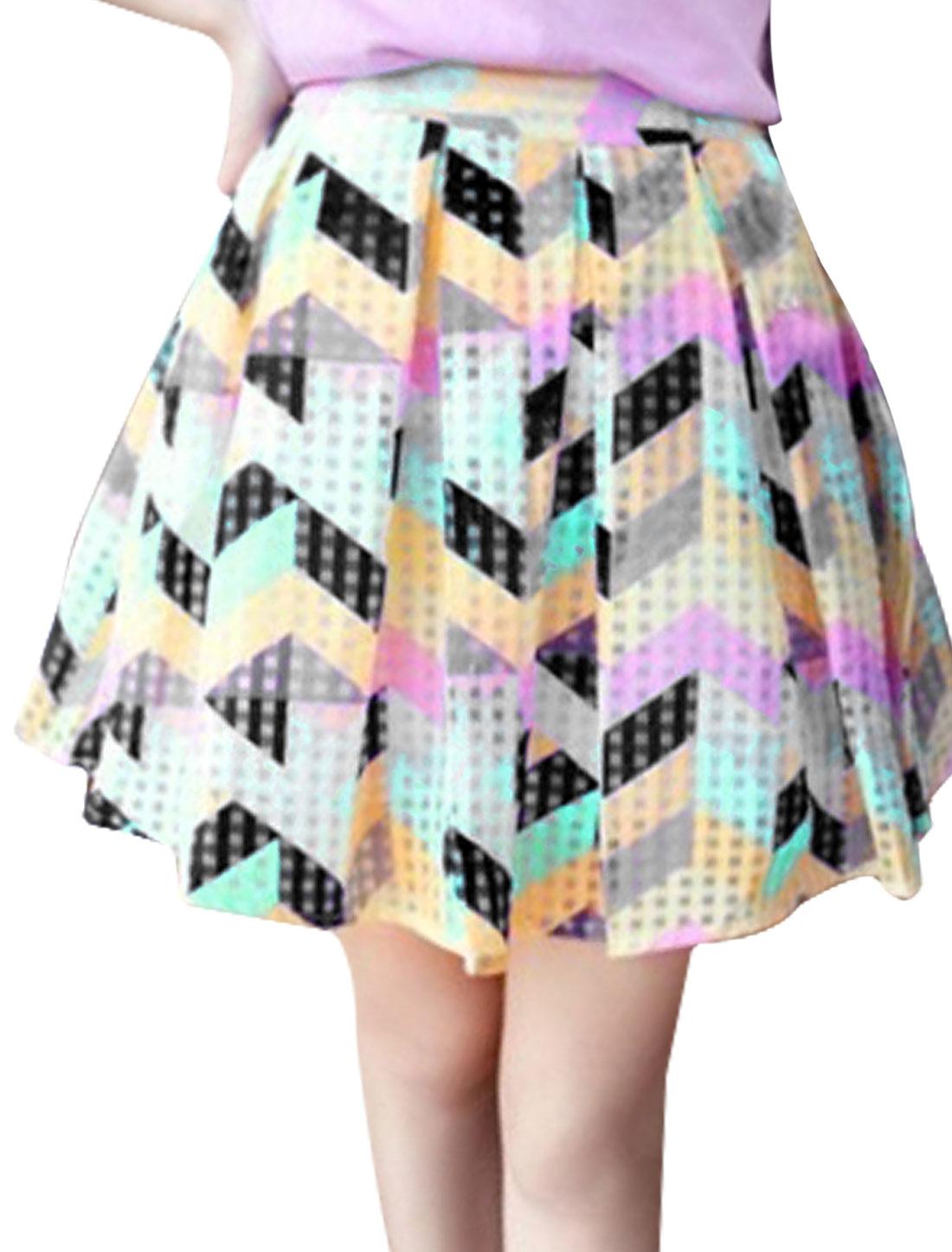 Women Summer Wear Elastic Waist Multicolor Zig-Zag Pattern Pleated Skirt M