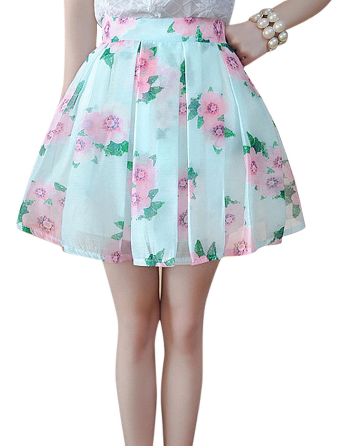 Lady Elastic Waist Floral Prints Plaids Design Organza Full Skirt Pink Mint S