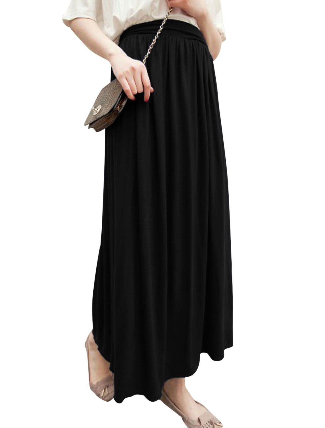 Women Soft Stretchy Waist Pleated Design Maxi Skirt Black XS