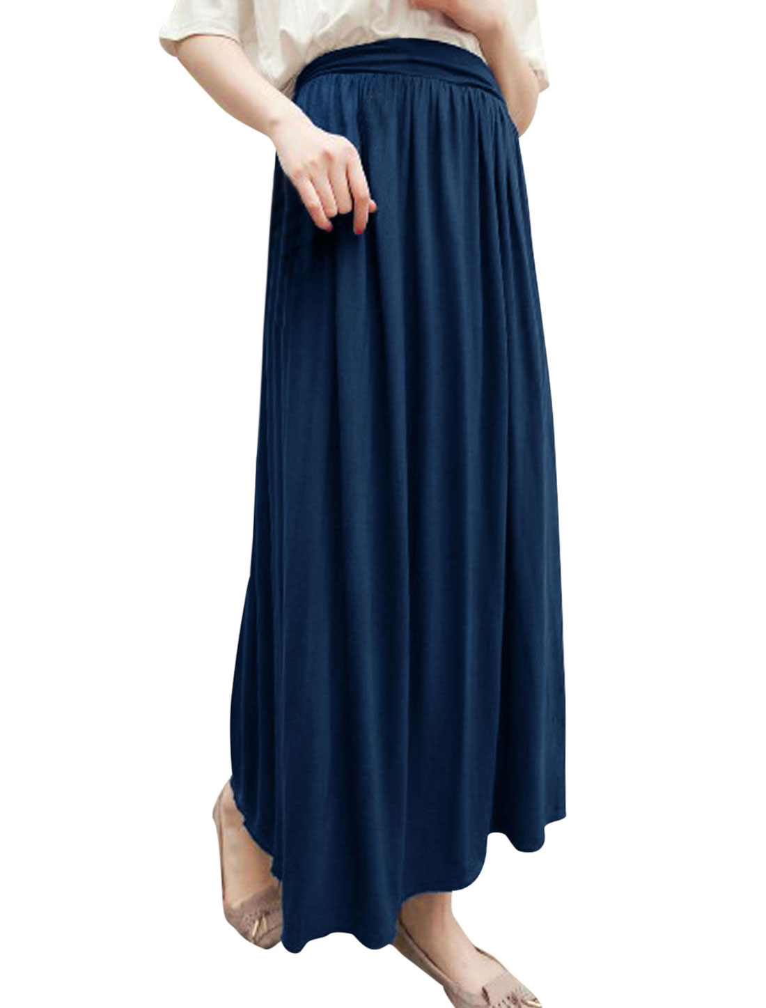 Women Chic Stretchy Waist Pleated Design Maxi Skirt Dark Blue XS