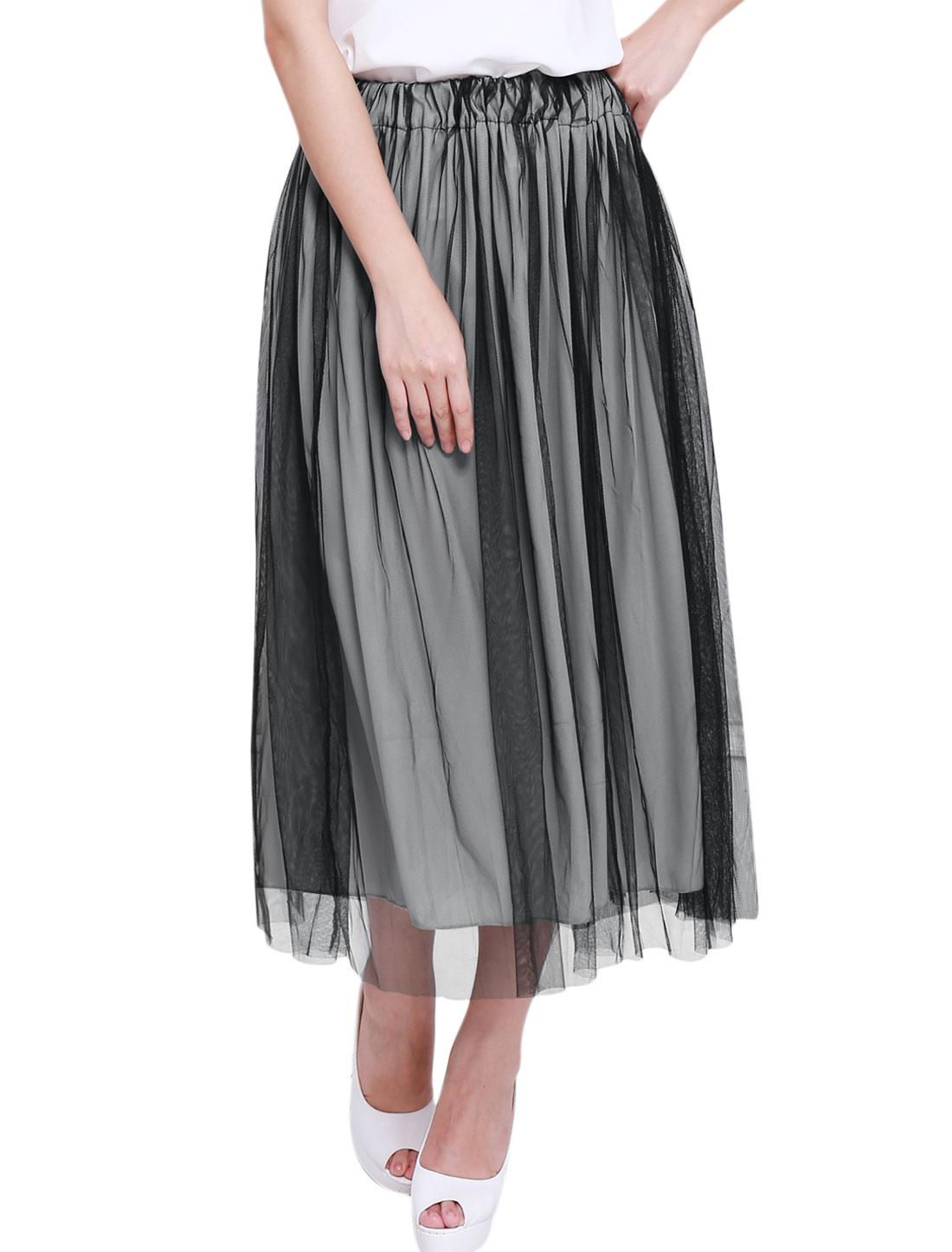 Ladies Stretchy Waist Lining Ruffled Design Elegant Mesh Skirt Black Light Gray L
