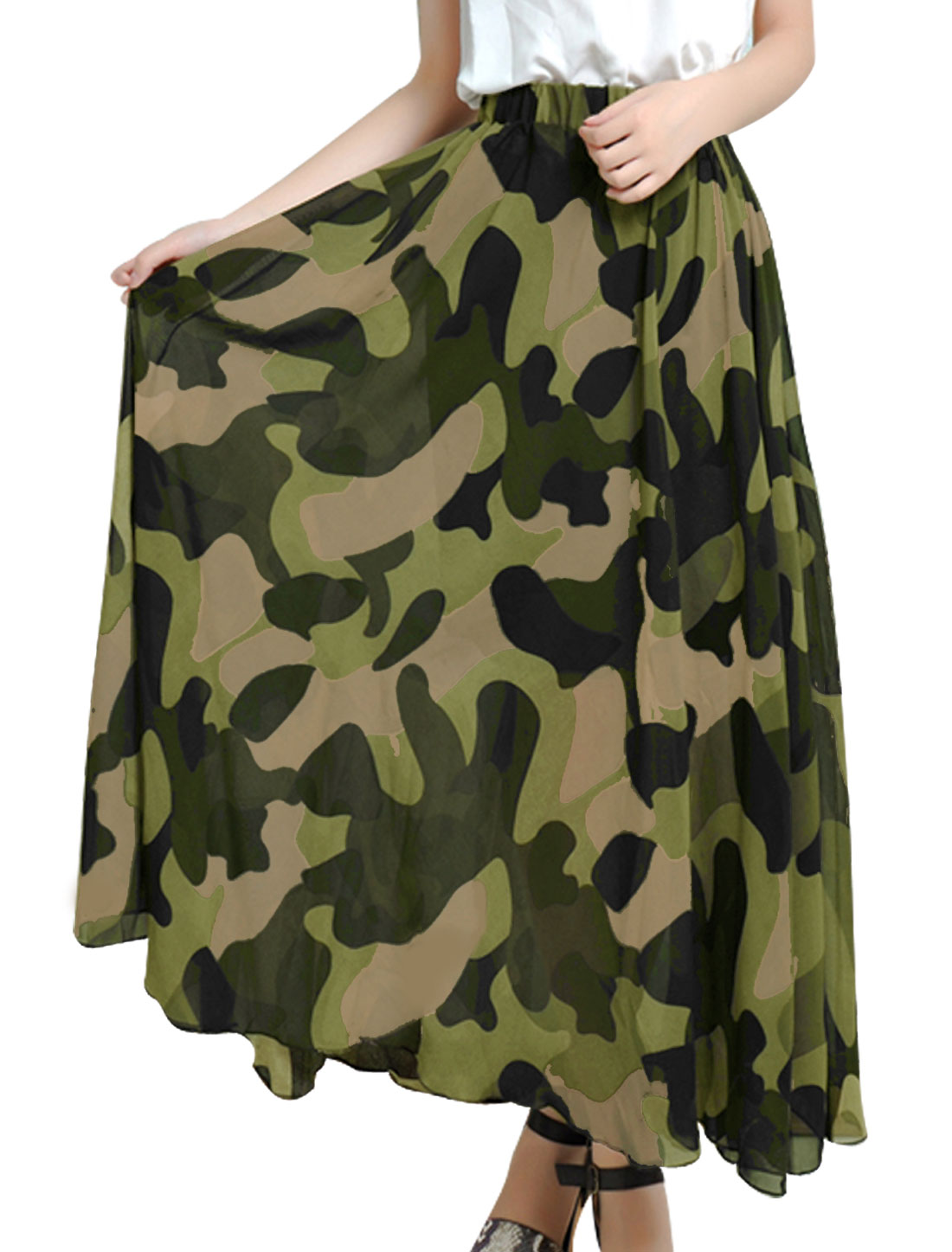 Lady Elastic Waist Camouflage Prints Lining Maxi Skirt Olive Green S