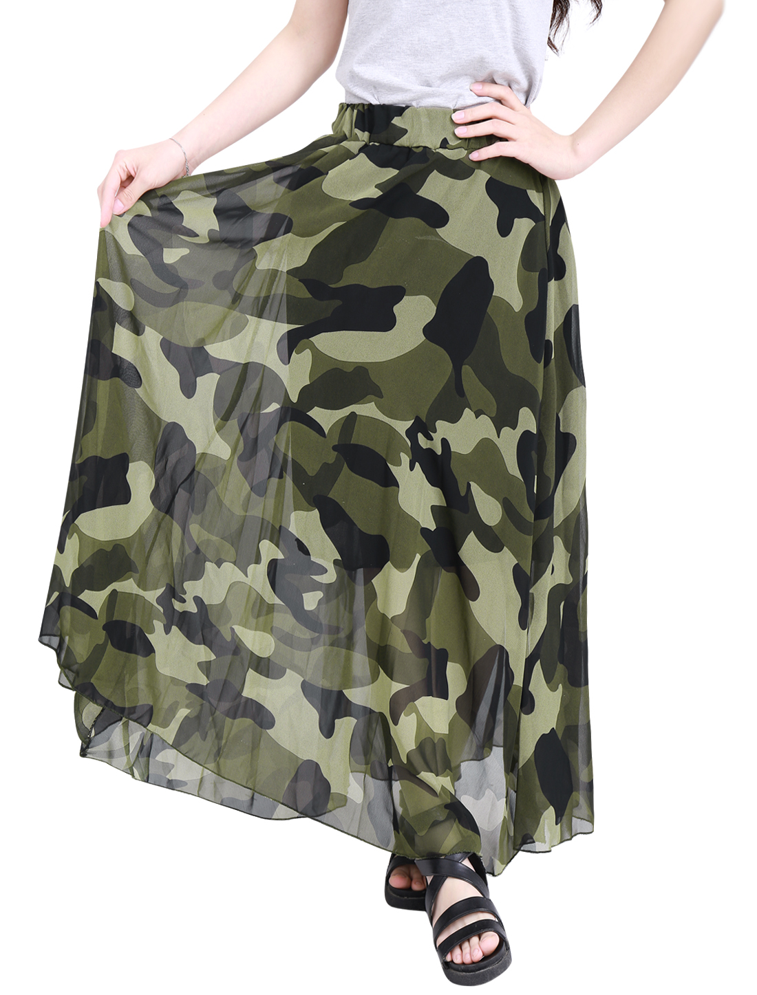 Lady Elastic Waist Camouflage Prints Leisure Maxi Skirt Army Green S