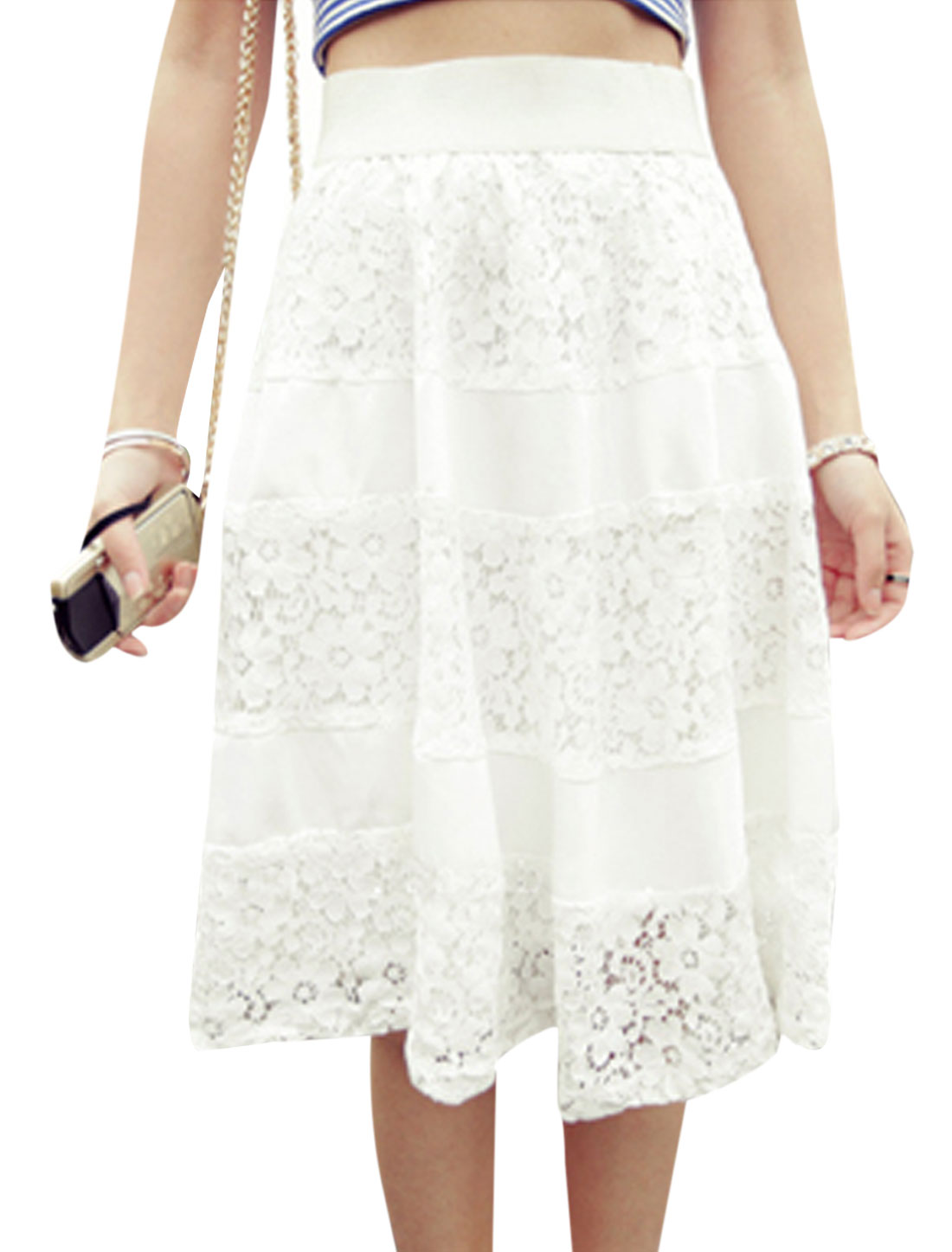 Women Elastic Waist Lace Panel Knee-Length Skirt White S