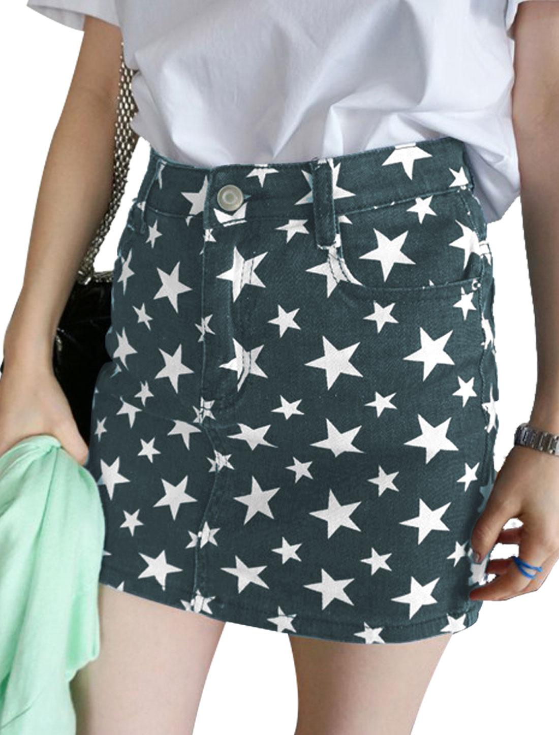 Lady Belt Loop Zip Fly Stars Prints Mini Denim Skirt Dark Blue S