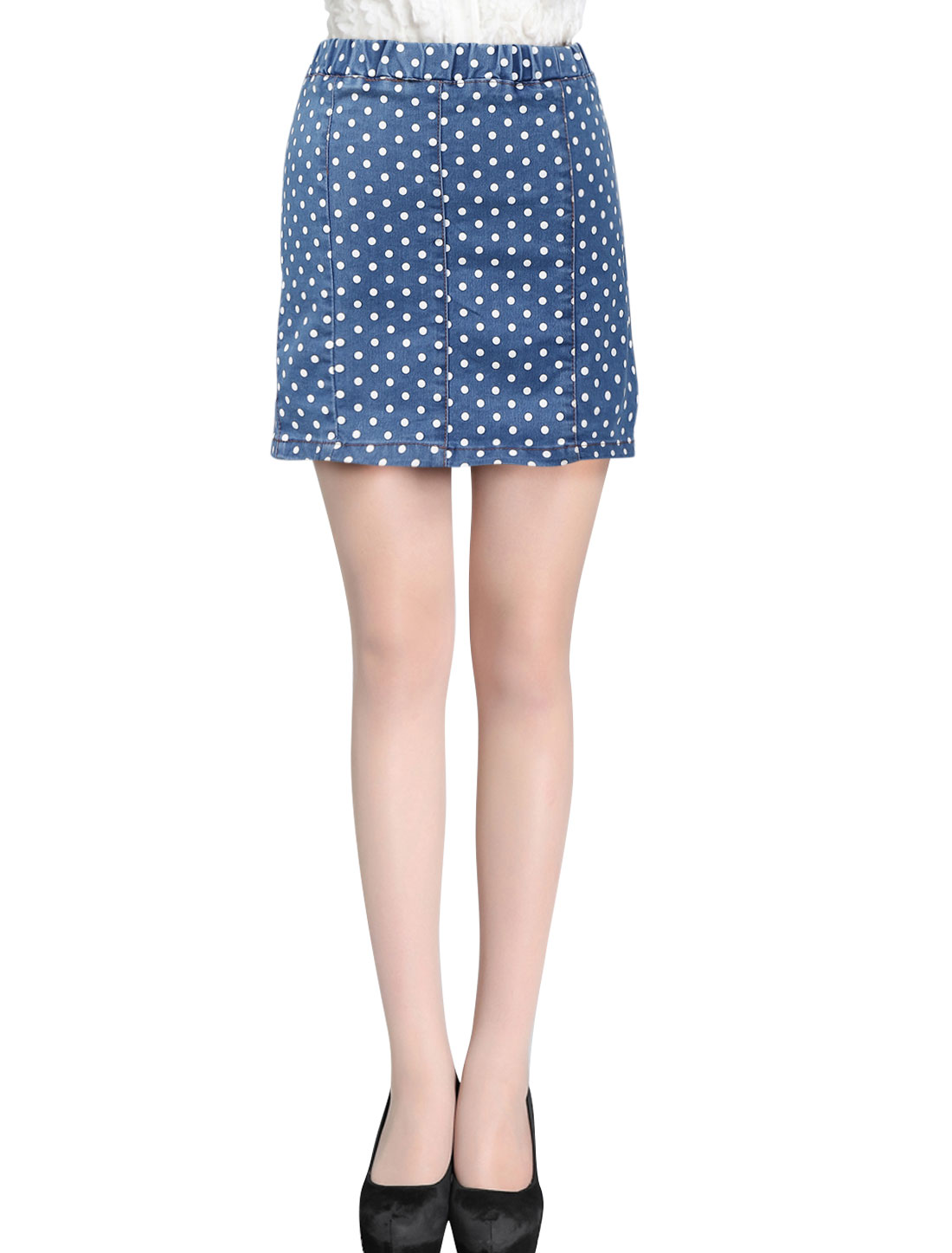 Women's Stretch Waist Dots Above Knee Denim Dark Blue XS Mini Skirt