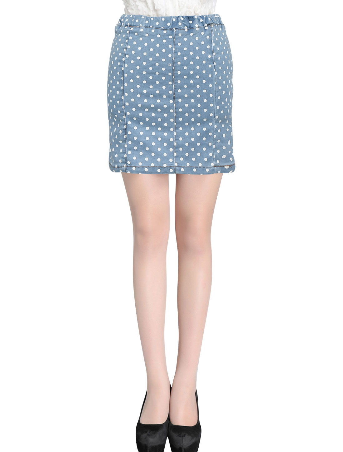 Lady Elastic Waist Dots Print Summer Fit Denim Mini Skirt Light Blue XS