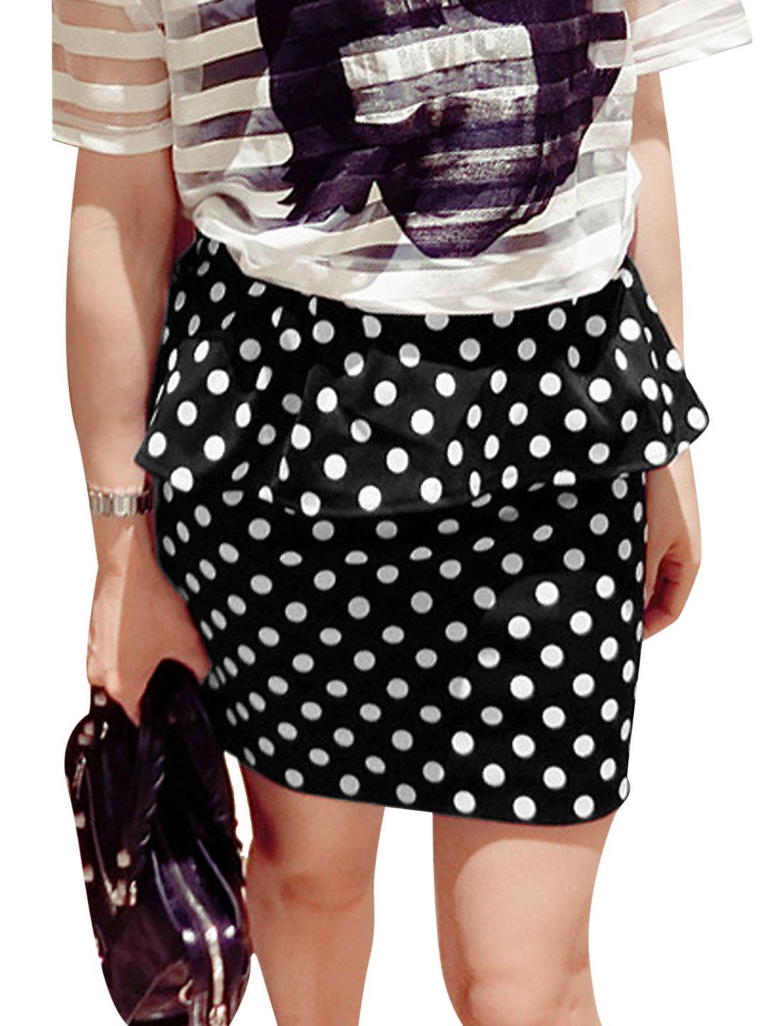 Lady Elastic Waist Dots Prints Flouncing Design Mini Skirt Black S