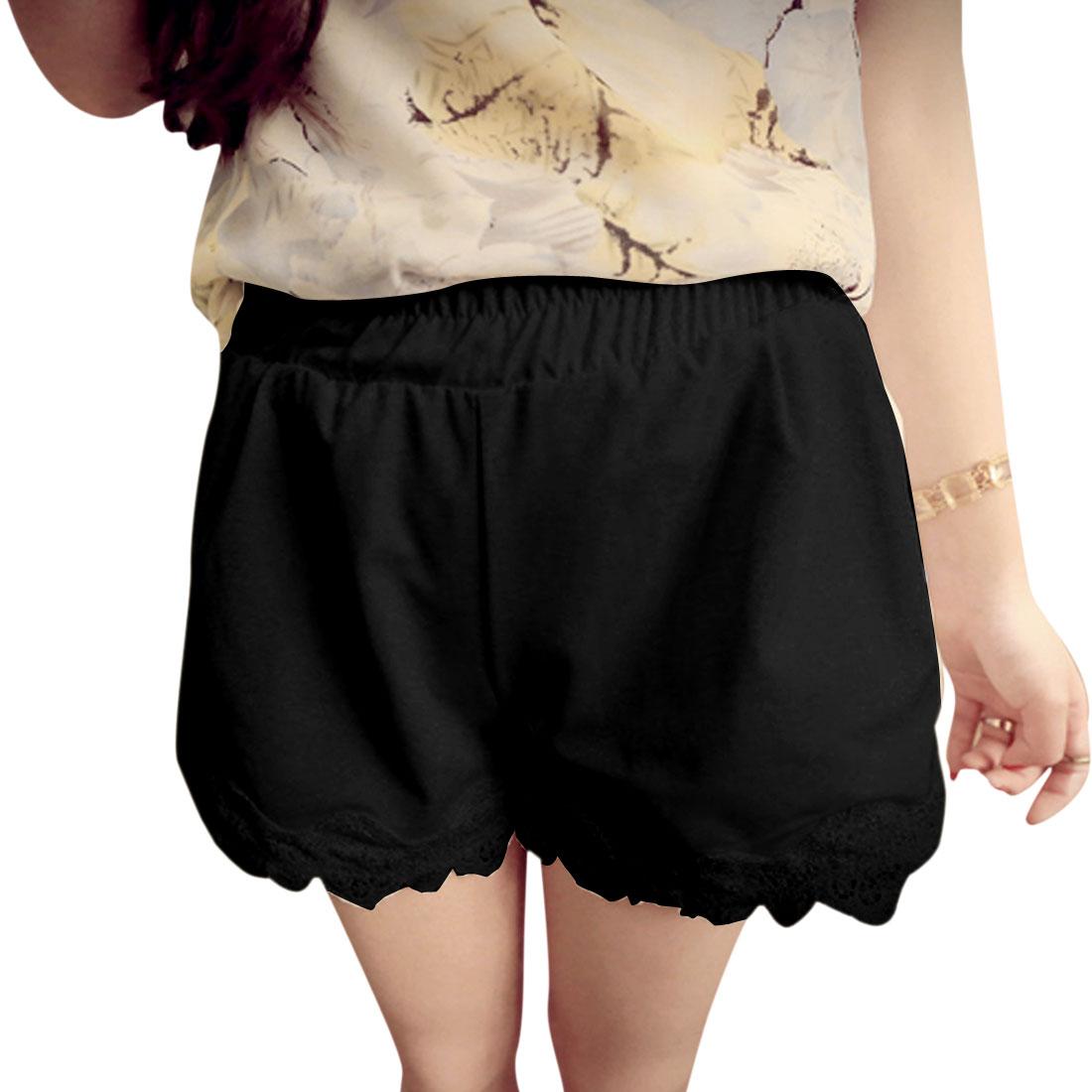 Lady Elastic Waist Zipper Decor Front Crochet Panel Shorts Black S