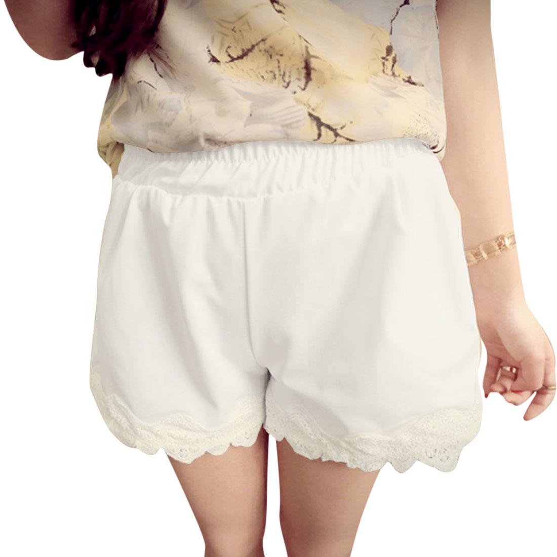 Lady Elastic Waist Zipper Decor Front Leisure Shorts White S