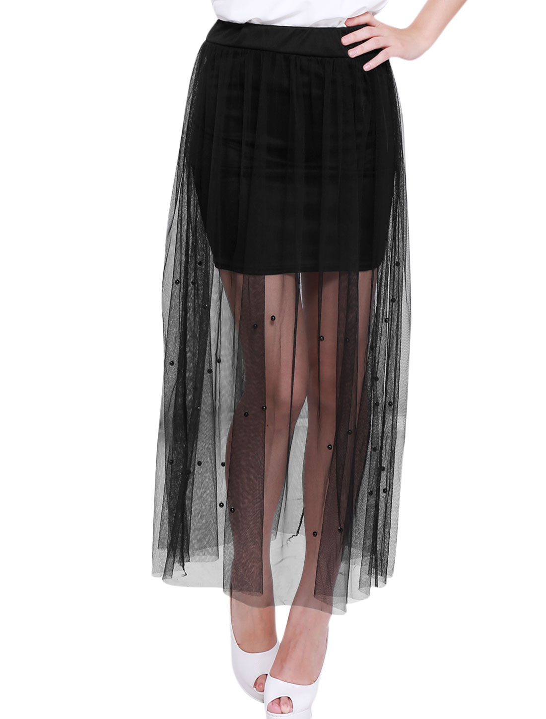 Ladies Sweet Plastic Pearl Decor Elastic Waist Semi Sheer Mesh Skirt Black XS