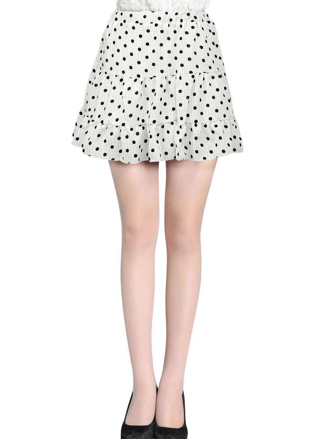 Lady's Elastic Waist Dots Lining Flounce Hem Culotte White XS