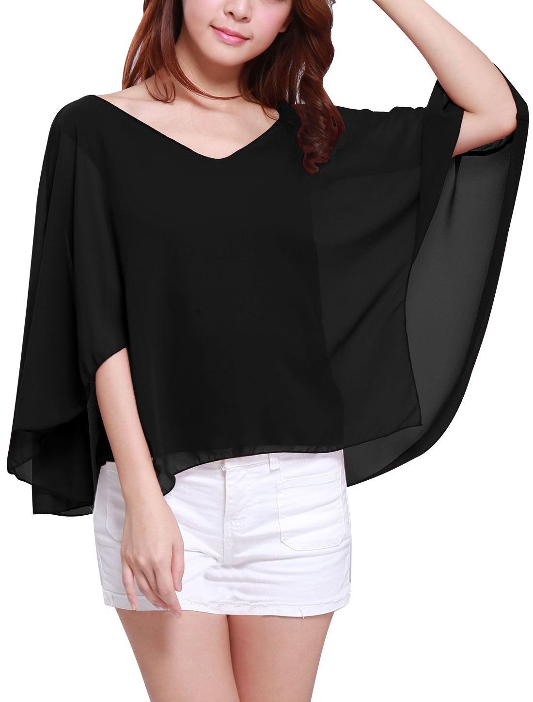 Ladies Deep V Neck Butterfly Sleeve Cut Out Back Chiffon Poncho Blouse Black S
