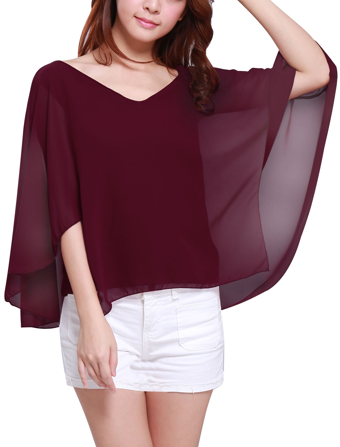 Women Deep V Neck Butterfly Sleeve Loose Chiffon Poncho Blouse Burgundy S