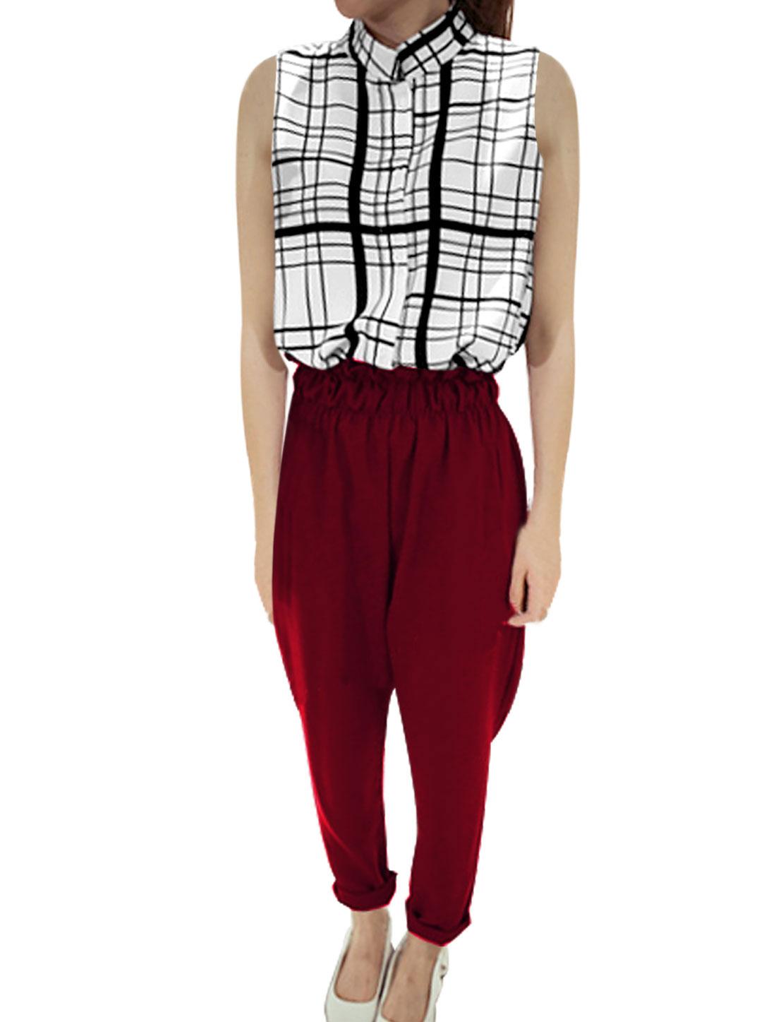 Women's Button Down Round Hem Plaids Shirt w Belt Loop Cropped Pants Burgundy XS