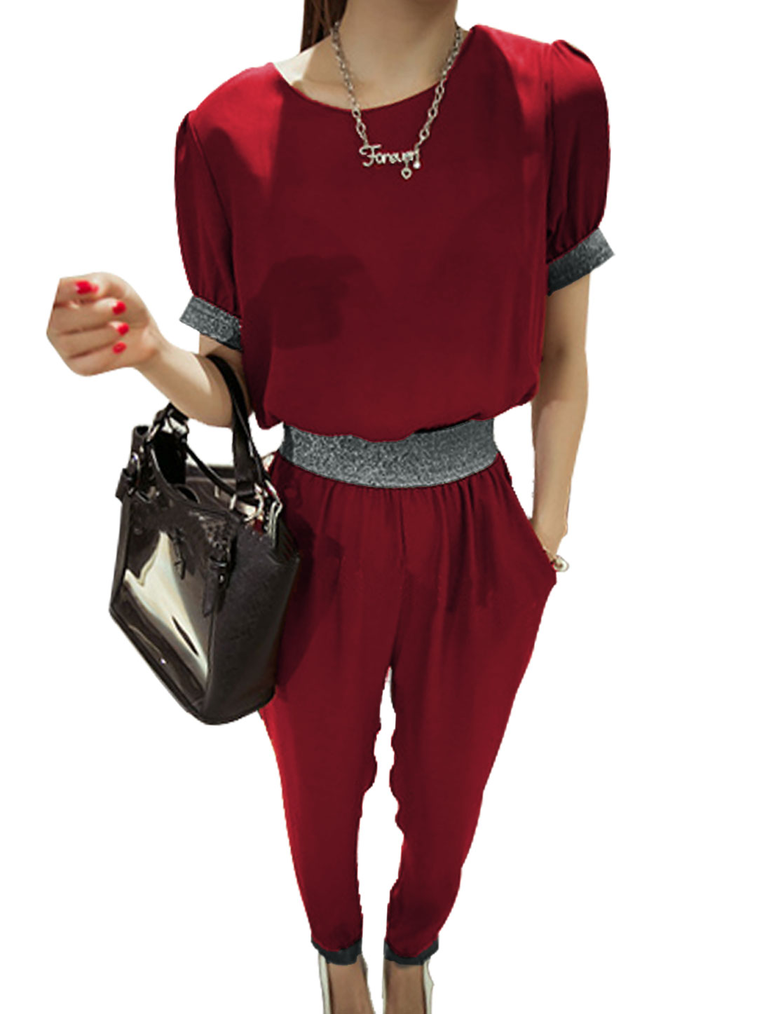 Lady Short Sleeve Concealed Zipper Back Shiny Elastic Waist Jumpsuit Burgundy XS