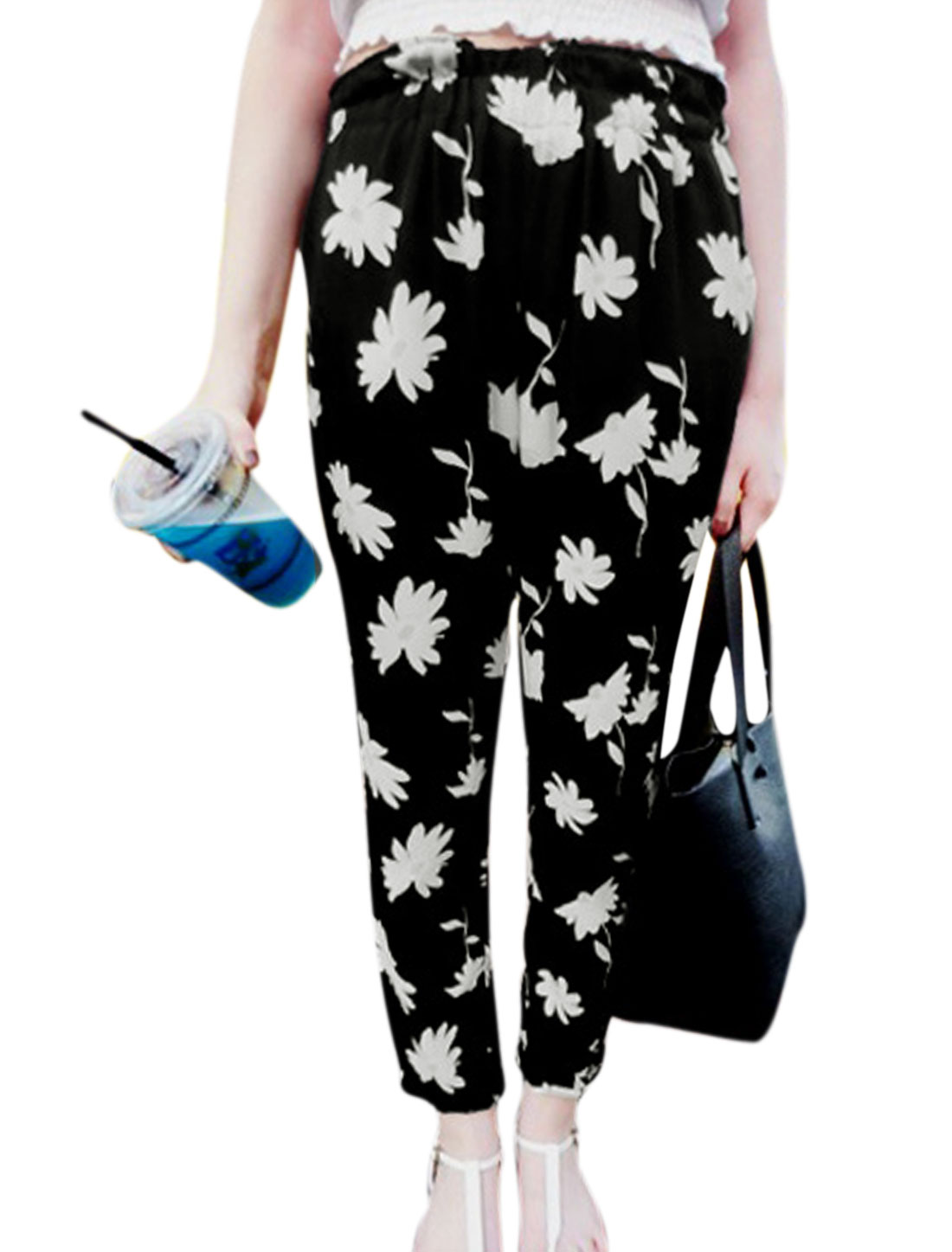Lady Elastic Waist Floral Prints Casual Cropped Pants Black XS