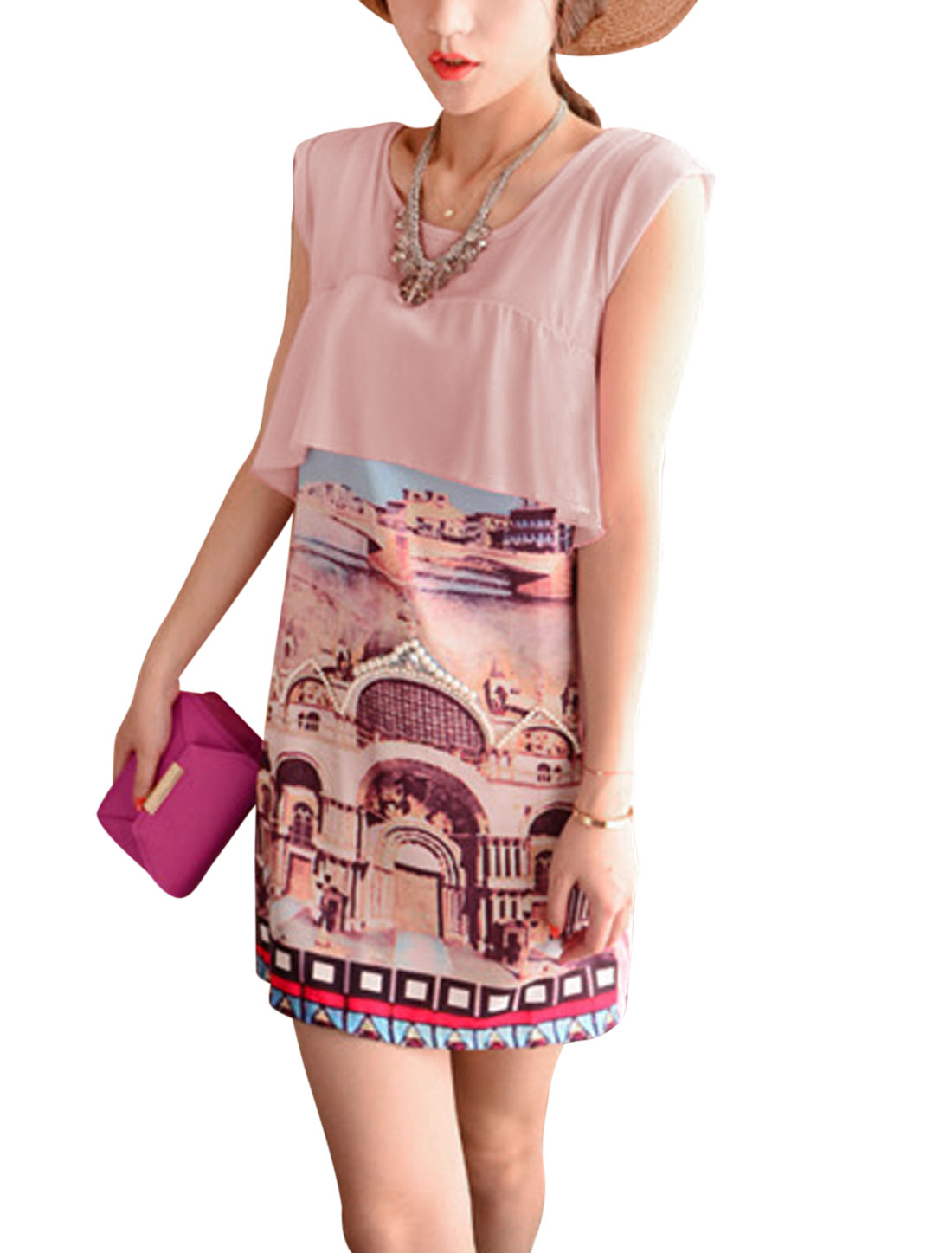 Lady Chiffon Panel Palace Prints Fake Pearls Decor Shift Dress Pale Pink XS