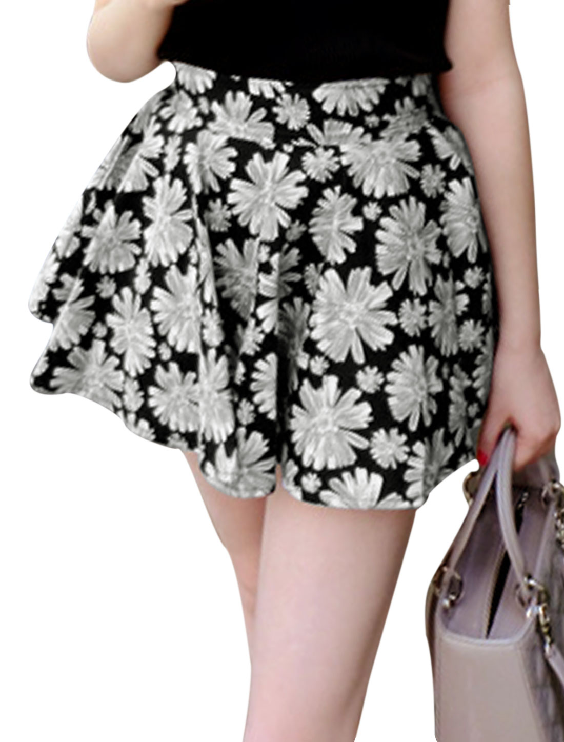 Women Zipper Back A-Line Floral Prints Casual Skort Black Gray XS
