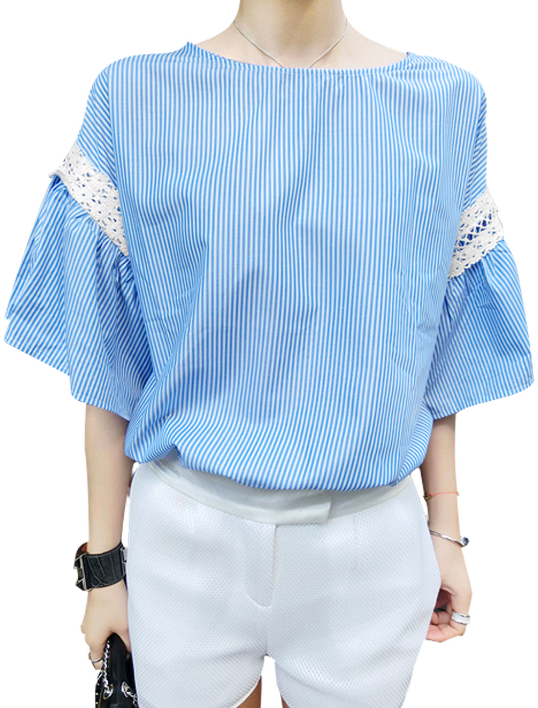 Lady Round Neck Half Trumpet Sleeve Crochet Patchwork Stripes Loose Top Blue XS