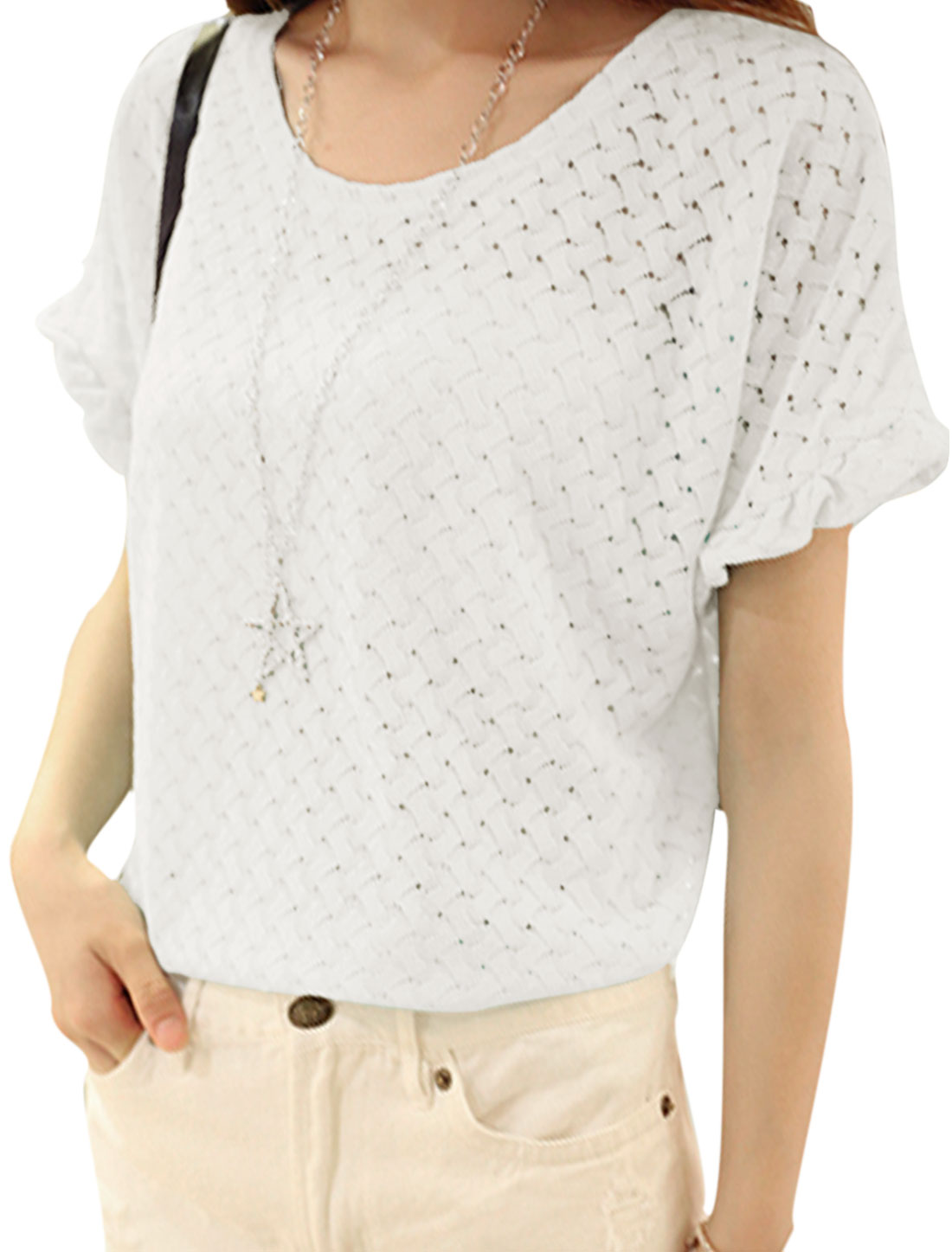 Lady Short Batwing Sleeve Hollow Out Lace Cover Up Top White XS