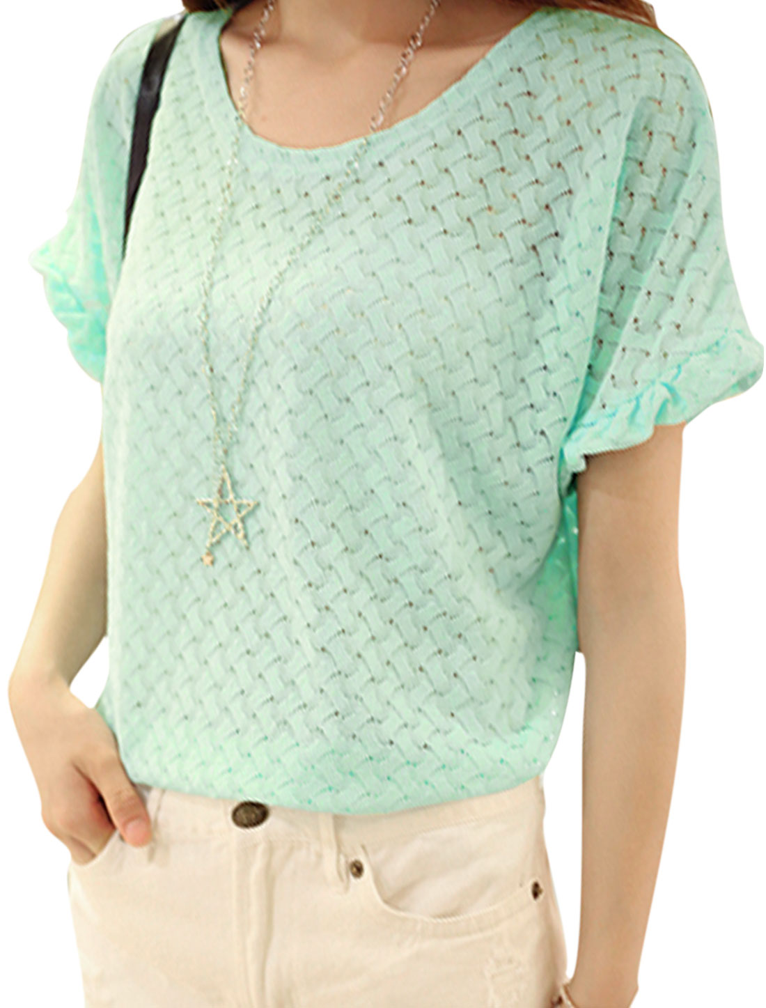 Lady Short Batwing Sleeve See Through Sheer Lace Top Mint XS